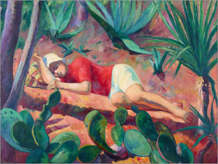 Wood print  Sleeping boy - Henri Manguin
