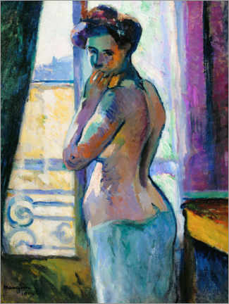 Wood print  At the window on Rue Boursault - Henri Manguin