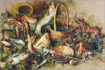 Premium poster  Still life with fish - Vincenzo Irolli