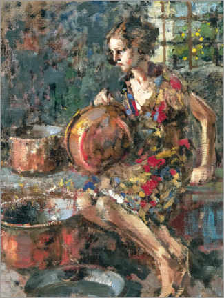 Canvas print  Girl with copper pots - Vincenzo Irolli