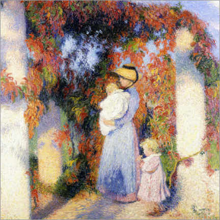 Foam board print  Woman with two children under a pergola in Marquayrol - Henri Manguin