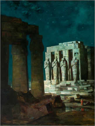 Premium poster  Past (Karnak Temple in Luxor at night) - Anton Müller-Wischin