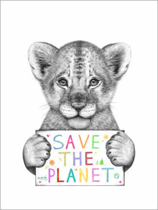 Canvas print  Lion cub, save the planet - Valeriya Korenkova