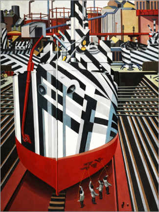 Wood print  Dazzle ships in Liverpool's dry dock - Edward Wadsworth
