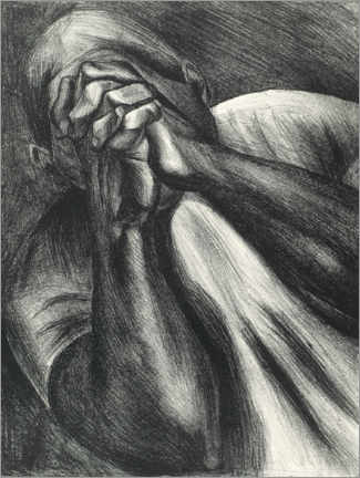 Foam board print  Man with hands on face - José Clemente Orozco