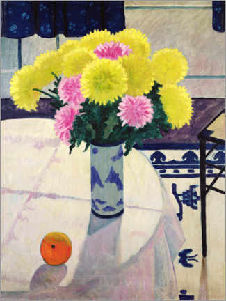 Acrylic print  Still life with chrysanthemums in a vase - Edward Wadsworth