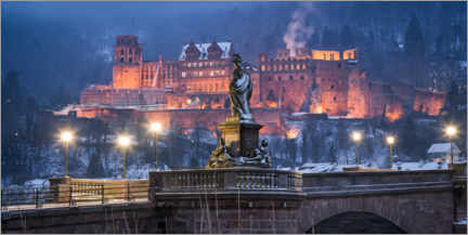 Premium poster  Heidelberg Castle in winter - Jan Christopher Becke