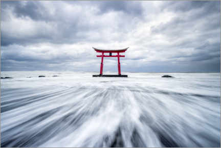 Acrylic print  Red torii by the sea - Jan Christopher Becke