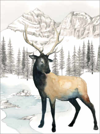 Premium poster Deer in winter landscape