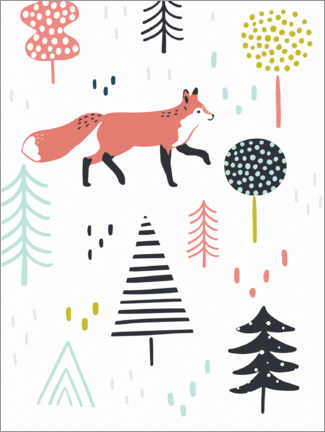 Wall sticker  Fox forest - Victoria Borges