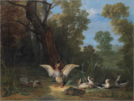Wood print  Ducks in the sunshine - Jean-Baptiste Oudry