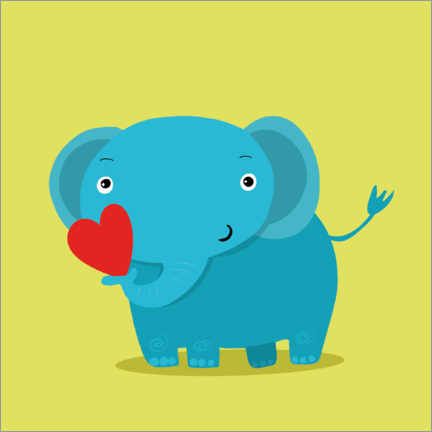 Premium poster Elephant with a heart