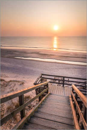 Acrylic print  Sunset at the Red Cliff on Sylt - Christian Müringer