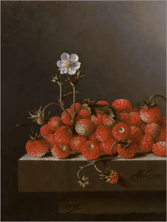 Wood print  Still life with wild strawberries - Adrian Coorte