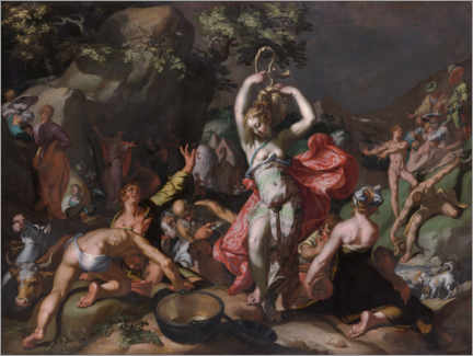 Foam board print  Moses beats water out of the rock - Abraham Bloemaert