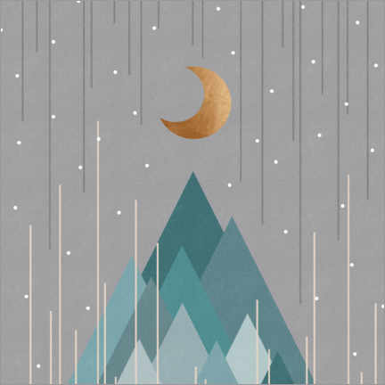 Premium poster Moon & mountains