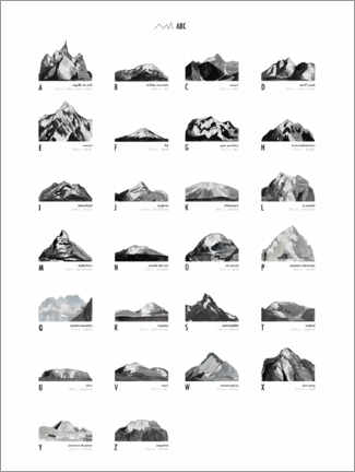 Canvas print  Mountain Love   ABC - Mantika Studio
