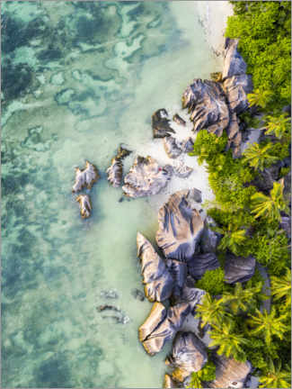 Premium poster Seychelles aerial view