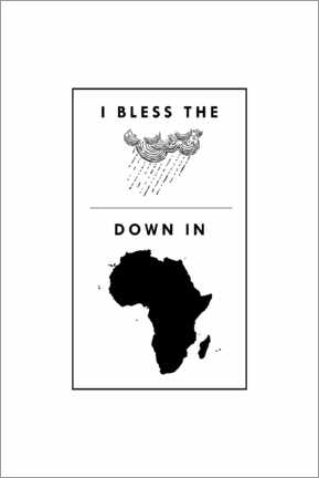 Wood print  I bless the rains down in africa - Typobox