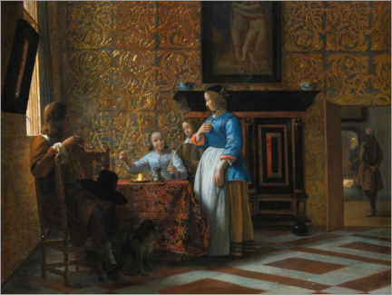 Canvas print  Leisure time in an elegant setting - Pieter de Hooch