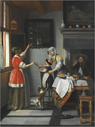 Foam board print  Interior with a child feeding a parrot - Pieter de Hooch