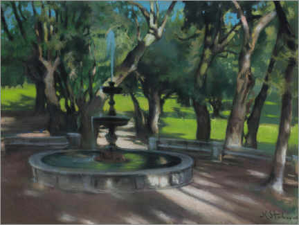Acrylic print  Fountain in the park of Villa Borghese - Kazimierz Stabrowski