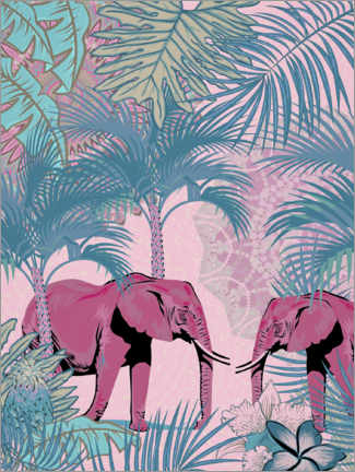 Premium poster Pink elephants in the jungle