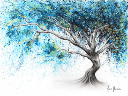 Premium poster Blue Crystal Dream Tree