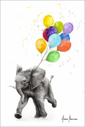 Canvas print  Baby elephant with balloons - Ashvin Harrison