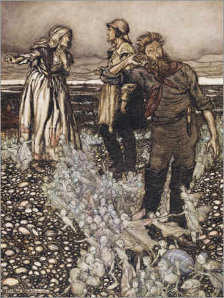 Wood print  Widow widow book and her sons - Arthur Rackham