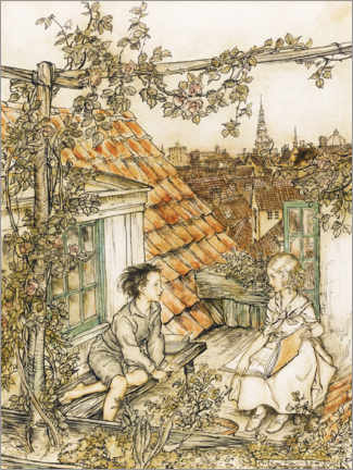 Wood print  Kai and Gerda on the roof - Arthur Rackham