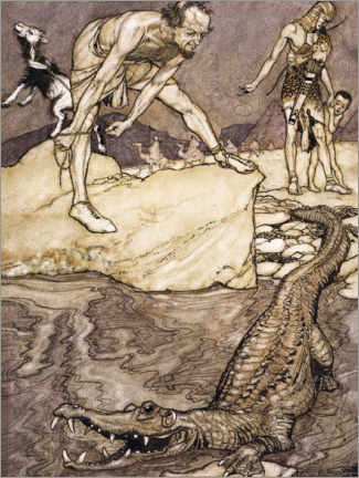 Wood print  The Nile Crocodile - Arthur Rackham