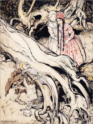 Acrylic print  Snow White and Rose Red - Arthur Rackham