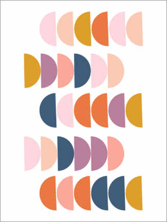 Gallery print  Colorful semicircles - apricot and birch
