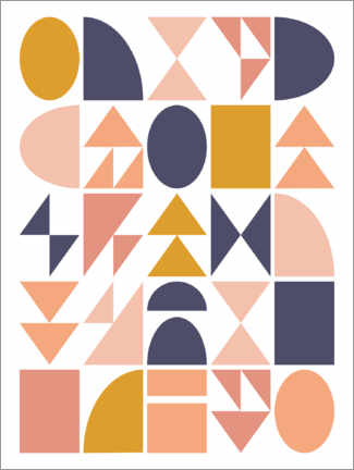 Canvas print  Geometric Shapes - apricot and birch