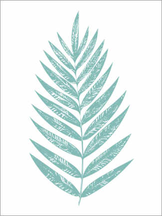 Wood print  Turquoise palm leaf - apricot and birch