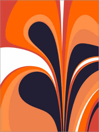 Canvas print  Abstract in fiery orange and navy blue - apricot and birch