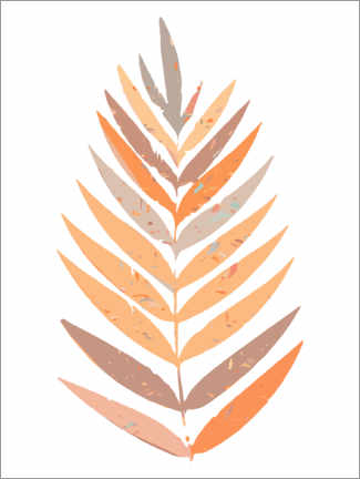 Gallery print  Palm leaf in earth colors - apricot and birch