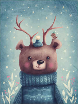 Premium poster Cute christmas bear