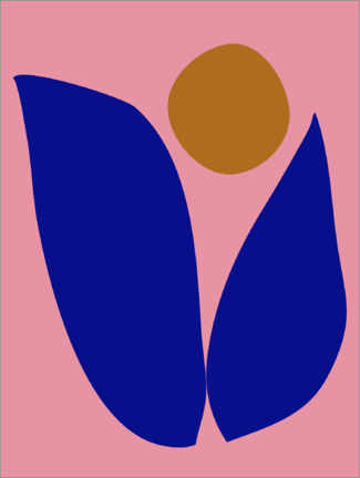 Foam board print  Abstract Floral in Pink and Blue - apricot and birch
