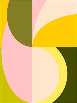 Foam board print  Abstract Shapes in Pink and Green - apricot and birch