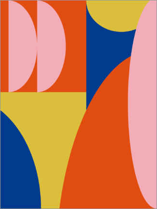 Aluminium print  Abstract Shapes in Primary Colors - apricot and birch