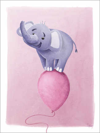 Premium poster Cute elephant on pink balloon