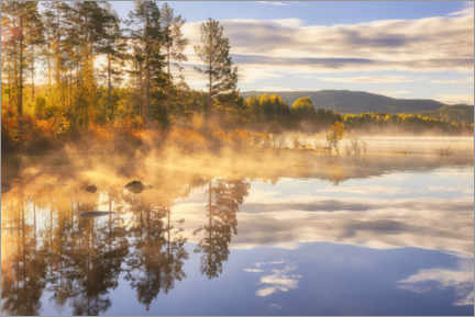 Premium poster  A beautiful misty morning by the lake - Rafal Kaniszewski