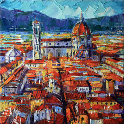 Wood print  View from the Palazzo Vecchio tower, Florence - Mona Edulesco