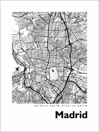 Canvas print  Madrid city map - 44spaces