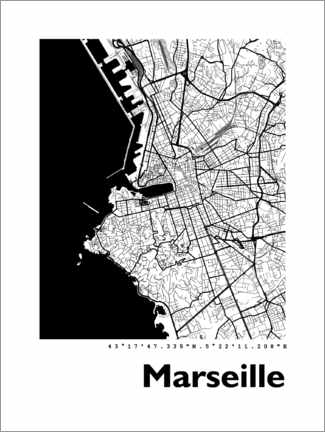 Canvas print  City map of Marseille - 44spaces