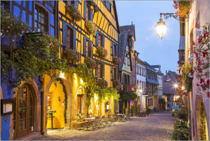 Wood print  In the streets of Riquewihr, Alsace - Matteo Colombo