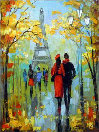 Premium poster Romantic walk in Paris