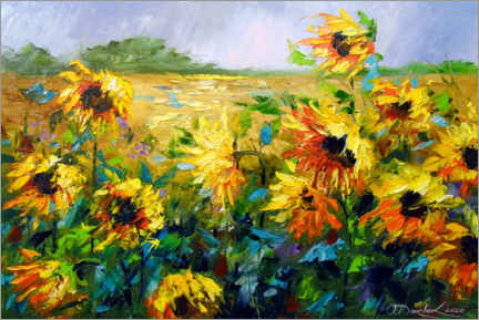 Premium poster Wind and sunflowers
